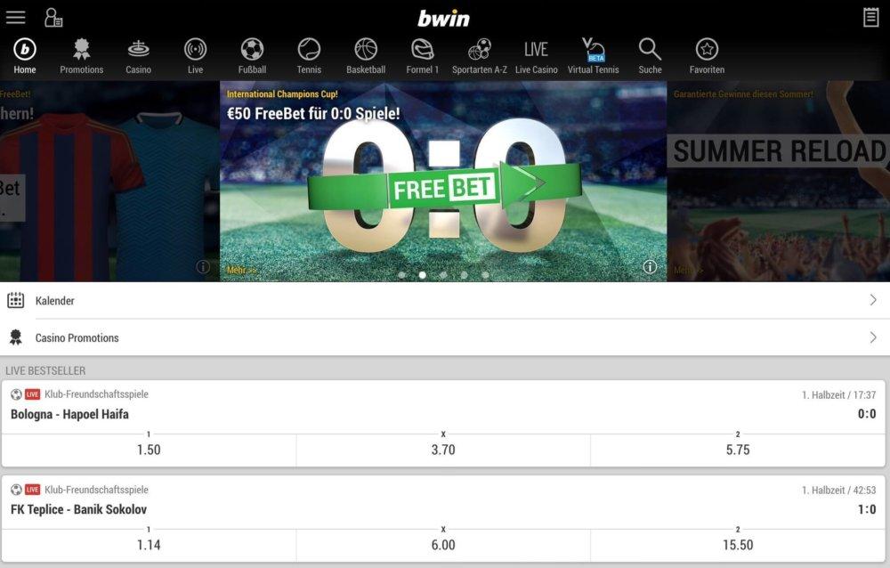 bwin App Startseite