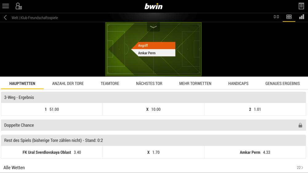 bwin App und Live Wetten