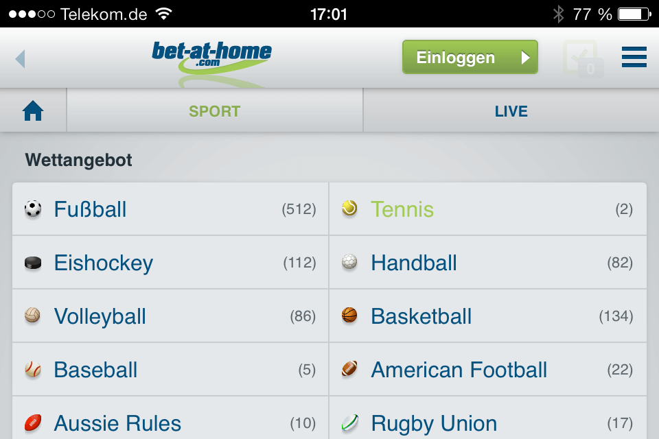 Die neue Bet-at-Home mobil App ist erschienen - Screenshot vom iPhone