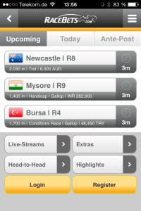 So sieht die mobil nutzbare App von Racebets.com auf dem iPhone aus.