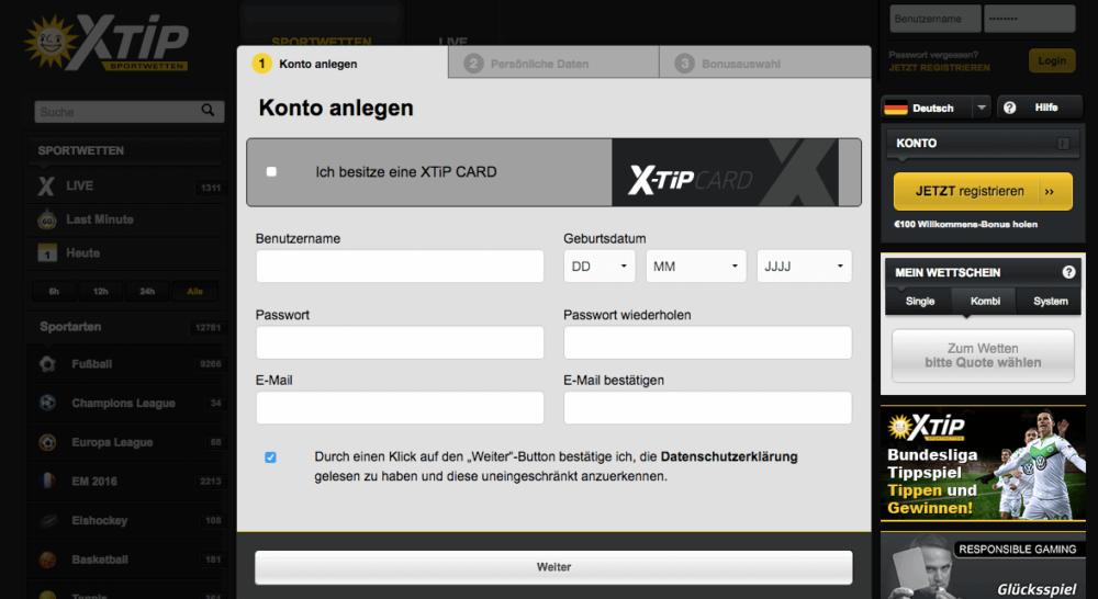 X-TiP Sportwetten Registrierung