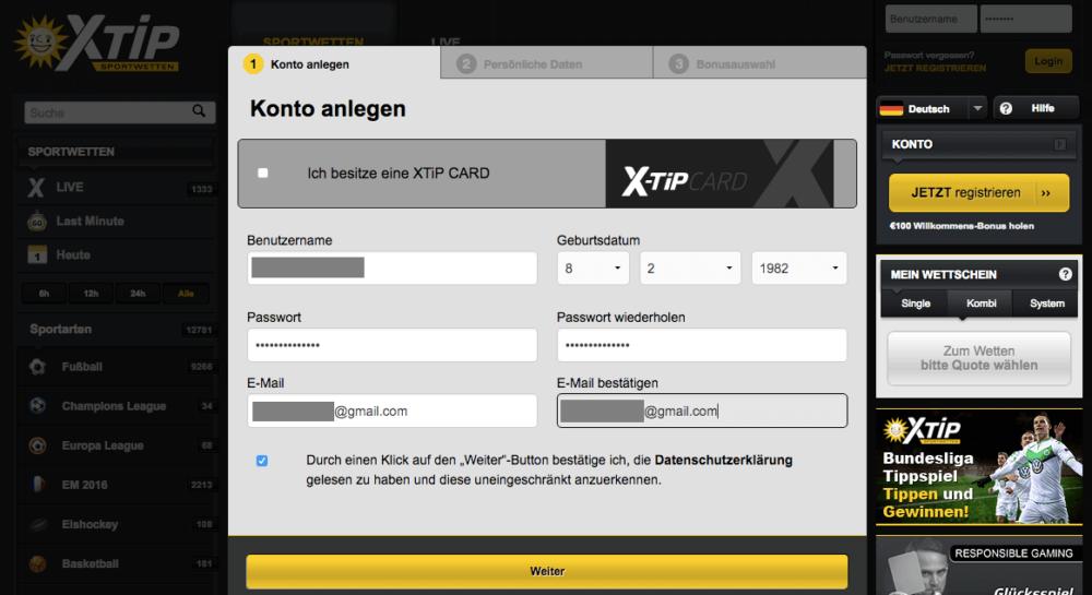 x-tip anmeldung ausgefüllt