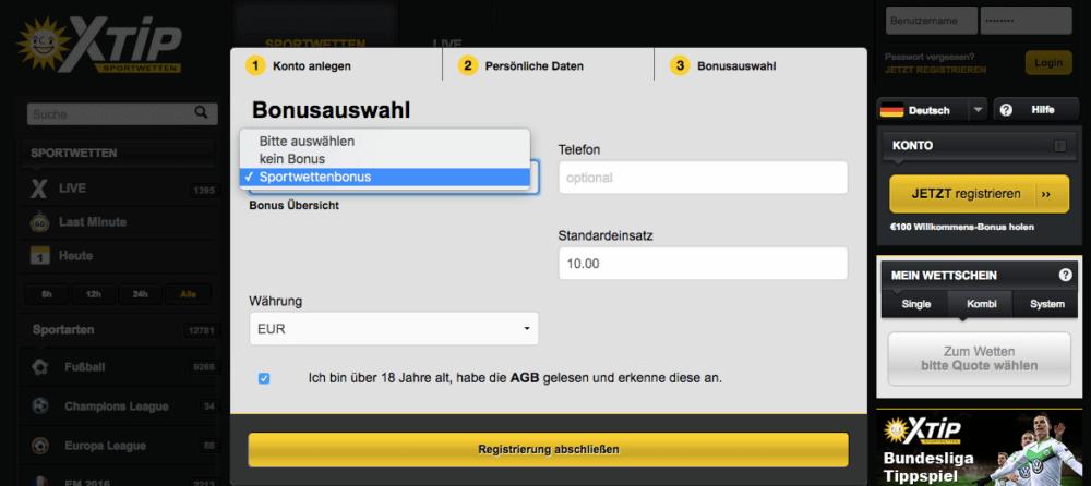 Registrierung X-TiP Bonus Auswahl