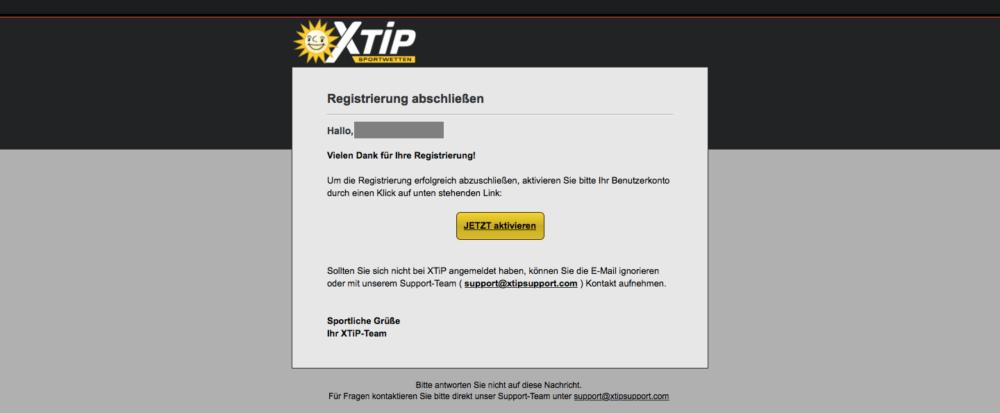 Bestätigungsemail von X-TiP