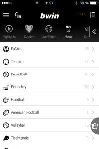 bwin hat ein umfangreiches Update der Sportwetten App veröffentlicht. So sieht die neueste Version der bwin App auf dem iPhone aus.