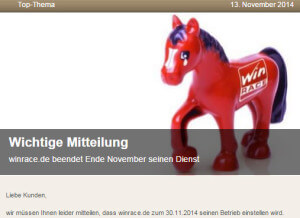 Winrace Ende Pferdewetten App