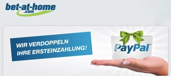 bet-at-home PayPal Bonus: Sichert Euch anstelle des 50% Standardbonus einen 100% Bonus auf Eure erste Einzahlung.