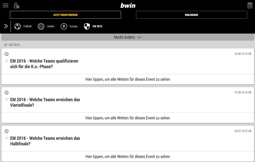 EM 2016 Wetten bwin Wetten EM 2016 Quoten