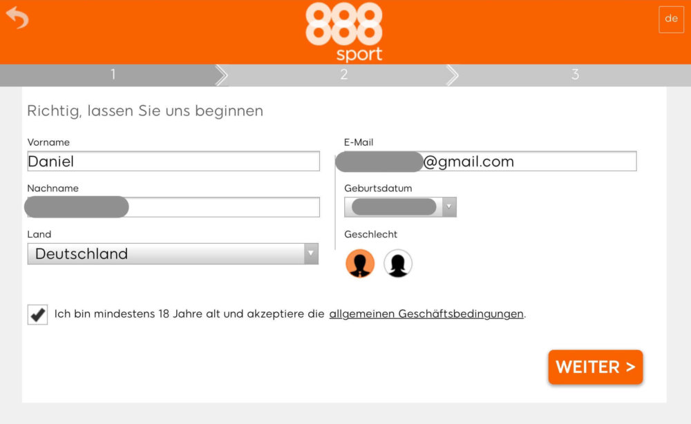 888sport App Reg Schritt 1