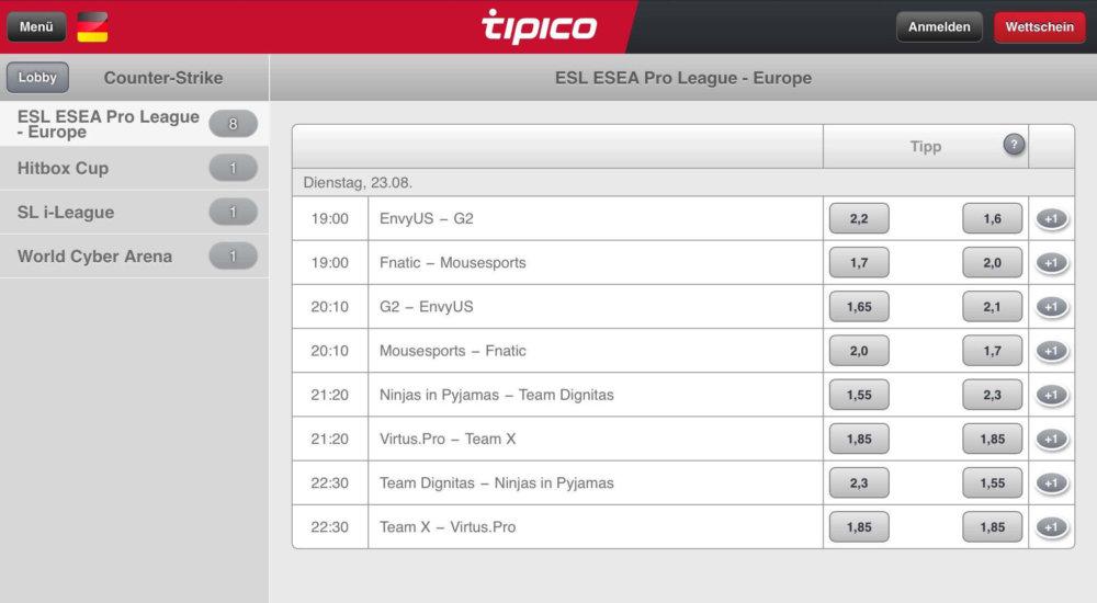 Tipico App iPad Tipico eSports