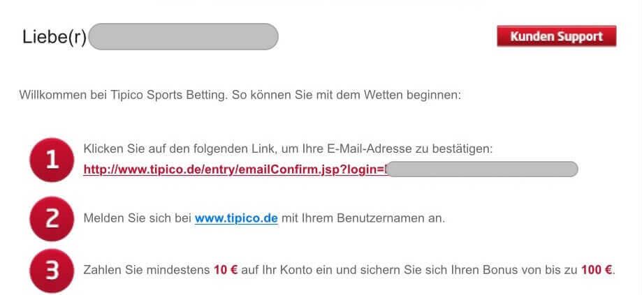 Tipico Registrierung Mail verifizieren