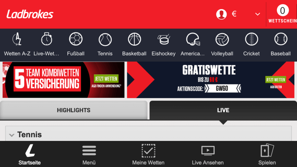 Ladbrokes App Screenshot Lobby