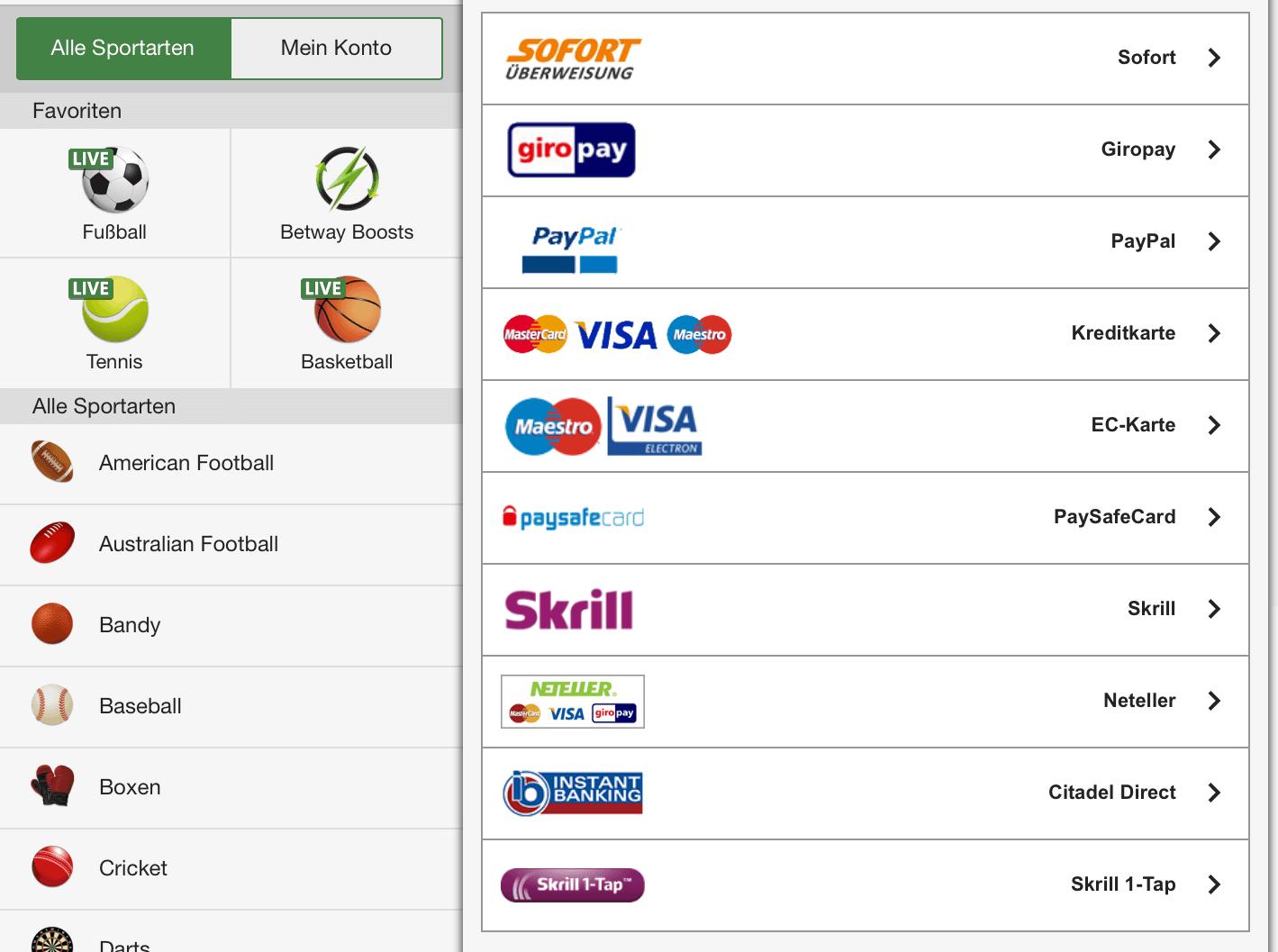 betway einzahlung